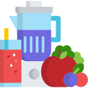illustration of a blender, smoothie, and fruit