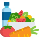 Illustration of water bottle, carrot, salad, and tomato
